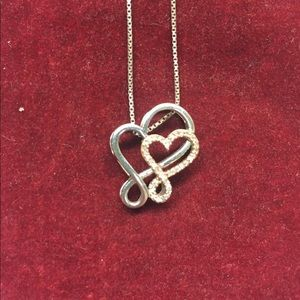 Zales double heart necklace